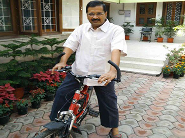Arvind Kejriwal on a bicycle. Image courtesy: Twitter/Aam Aadmi Party