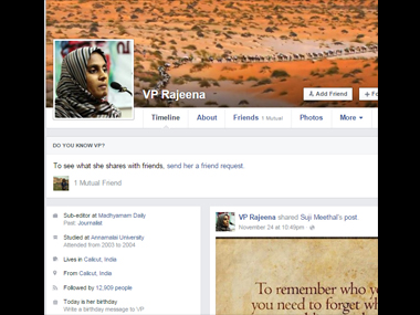 VP Rajeena's Facebook profile.