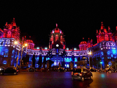 CST lit up in the Dutch colours. PTI