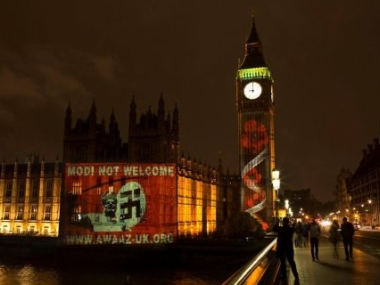 What the protesters projected onto the houses of Parliament in London. Image courttesy: Twitter