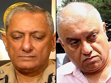 Former police commissioner Rakesh Maria and media tycoon Peter Mukerjea. Image courtesy: IBNLive
