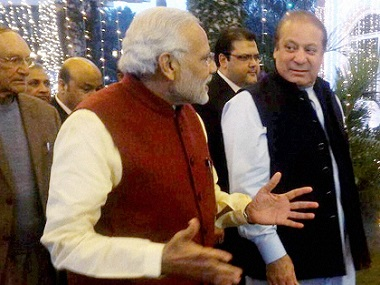 Prime Minister Narendra Modi with his Pakistani counterpart Nawaz Sharif at the latter's residence at Raiwind in Lahore on Friday. PTI / Twitter/@MEAIndia