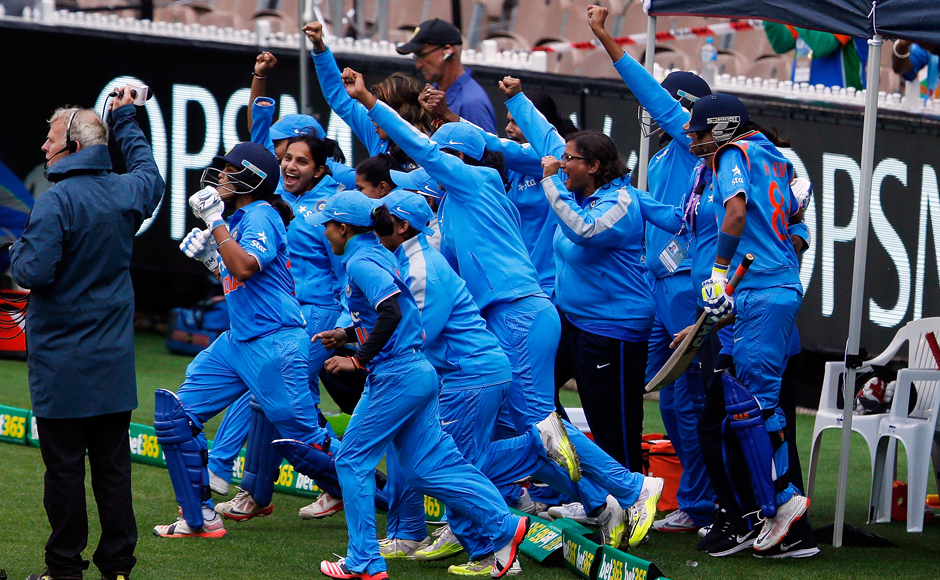 India players celebrate after winning the women's Twenty20 International match between Australia and India at Melbourne Cricket Ground on 29 January, 2016 in Melbourne, Australia. Getty