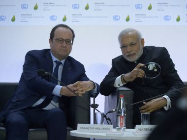 French President Francois Hollande with Prime Minister Narendra Modi. AFP