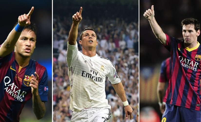 Messi, Neymar, Ronaldo — the Ballon d'Or finalists. AFP