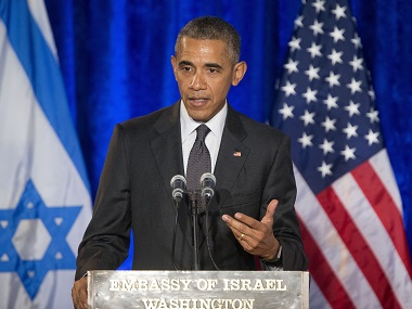 President Barack Obama speaks at the Righteous Among the Nations Award Ceremony at the Israeli Embassy in Washington. AP