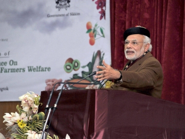 PM Narendra Modi addresses the plenary session of National Conference on Sustainable Agriculture & Farmers Welfare, in Gangtok. PTI