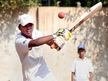 Dhanavade plays a shot enroute to creating a world record by creating 1009 runs in an Under 16 MCA cricket match in Kalyan, in Mumbai on Tuesday. PTI