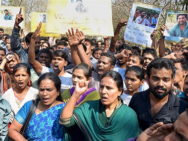 File photo of protesting students at University of Hyderabad. PTI