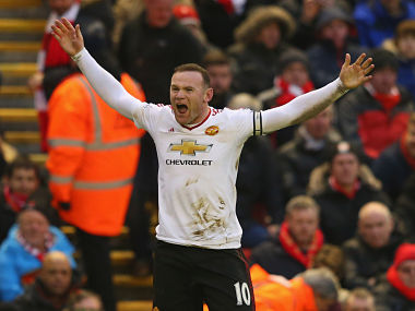 Wayne Rooney celebrates after scoring the winning goal against Liverpool. Getty