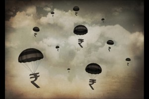 Group of Rupees falling with parachute against cloudy sky