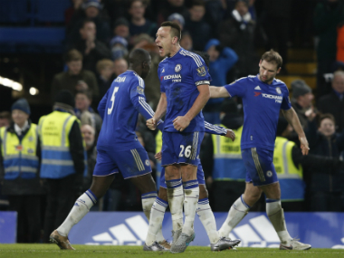 Chelsea captain John Terry celebrates his 98h minute equaliser against Everton. AFP