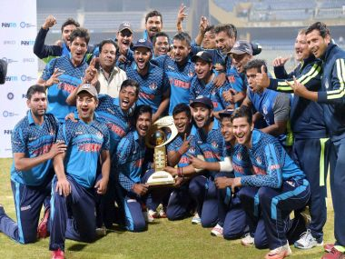 Uttar Pradesh with the Mushtaq Ali Trophy trophy. PTI