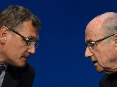 Jerome Valcke (L) and Sepp Blatter (R). Getty