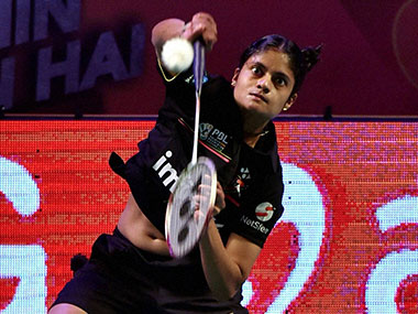 Delhi Acers' P C Thulsi in action against Hyedrabad Hunters' Supanida K during a PBL match. PTI