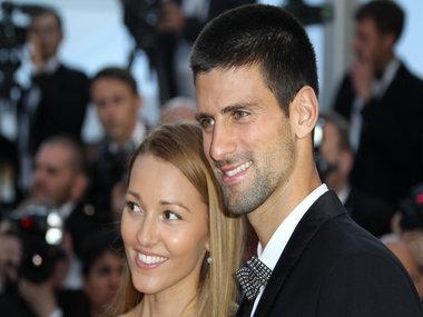 Serbian tennis player Novak Djokovic and his wife Jelena. AFP
