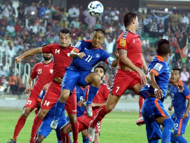 Sunil Chhetri in action during the SAFF Cup final. PTI