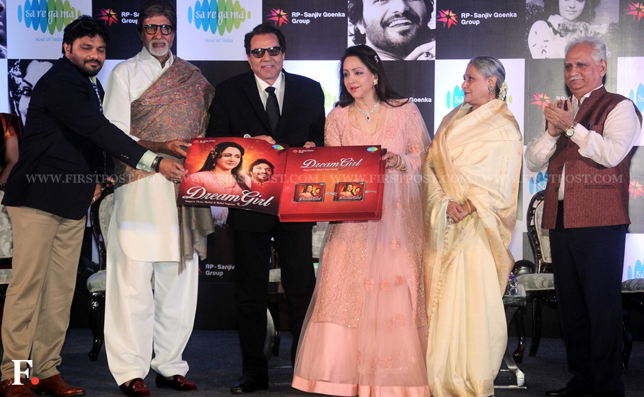 Hema Malini with husband Dharmendra, Amitabh and Jaya Bachchan and Ramesh Sippy. Sippy directed the four stars in the legendary movie 'Sholay', which will celebrate it's 41st anniversary this year. Sachin Gokhale/Firstpost