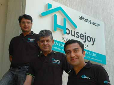 Housejoy founders Arjun Mendu, Sunil Goel and Saran Chatterjee, CEO