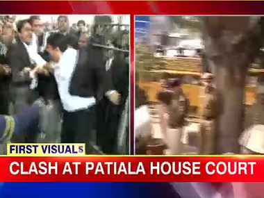 Lawyers engage in violence in the Patiala House Court premises in New Delhi on Wednesday. Image courtesy CNN-IBN