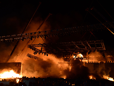 The fire at Girgaum Chowpatty. AFP