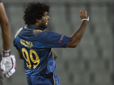 Lasith Malinga reacts after the dismissal of UAE's Rohan Mustafa. AFP