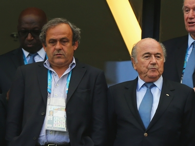 Michel Platini and Sepp Blatter. Getty