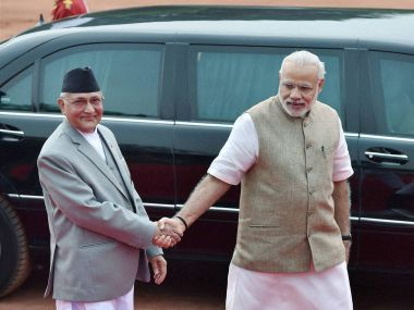 No hug: Nepal PM KP Oli and PM Narendra Modi in New Delhi. PTI