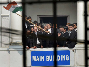 Lawyers at Patiala House court complex allegedly assaulted Kanhaiya Kumar and journalists. PTI