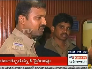 A policeman at the raid on the party held by GHMC officials on Saturday. Screen grab from YouTube
