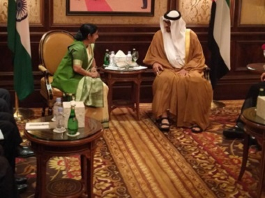 External Affairs Minister Sushma Swaraj meets Abu Dhabi Crown Prince Sheikh Mohammed Al Nahyan in New Delhi. Image courtesy: Twitter/@MEAIndia