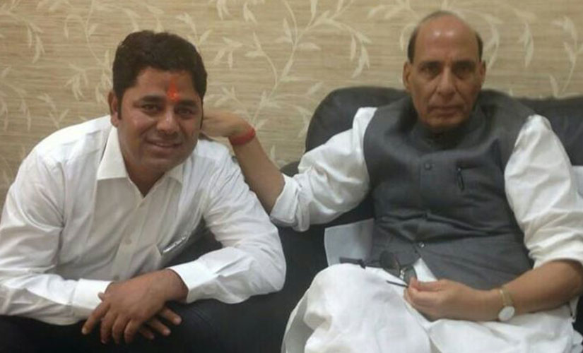 Vikram Singh Chauhan with Home Minister Rajnath Singh. Image courtesy: Vikram singh chauhan/Facebook