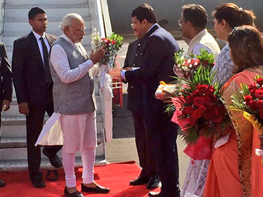 PM Modi arrives in Mumbai