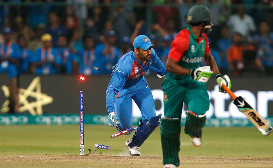 Is that that a bird? Is that a plane? No, it's Mahendra Singh Dhoni effecting the run out of the tournament to dismiss Bangladesh's Mustafizur Rahman. Reuters
