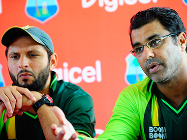 File photo of Pakistan captain Shahid Afridi and coach Waqar Younis. AFP