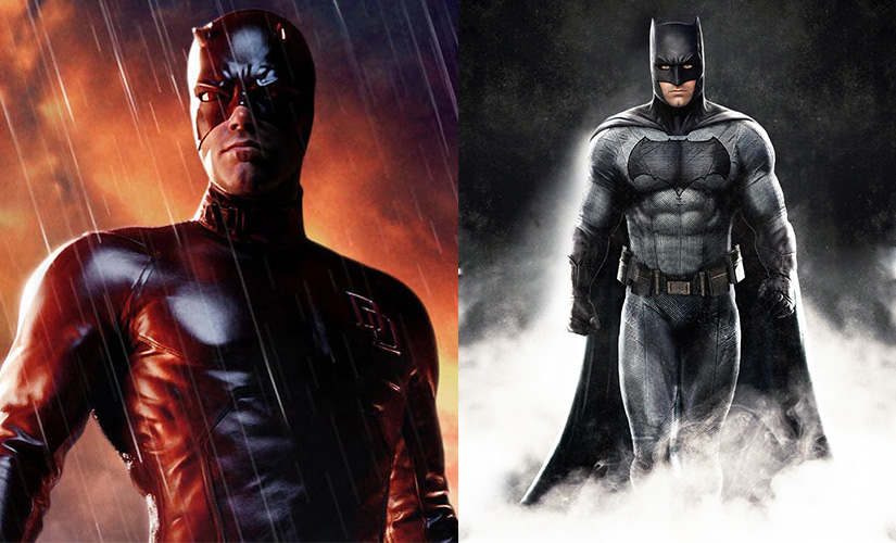 Ben Affleck as Daredevil (L) and as Batman