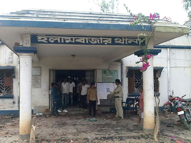 Illambazar police station after the mob attack. Image courtesy Prasoon Mitra