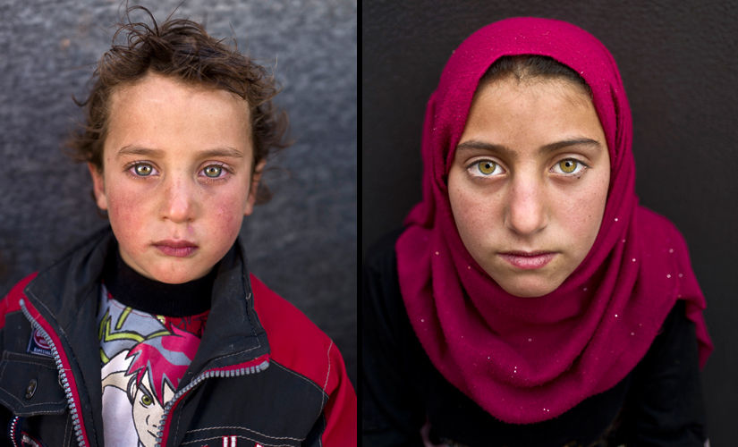 (L) Hammad Khadir, 3, from Hassakeh, Syria and (R) Yasmeen Mohammed, 11, from Eastern Ghouta, Syria. Mohammed, whose family fled their town, said she misses her old life. Image from AP Photo/Muhammed Muheisen