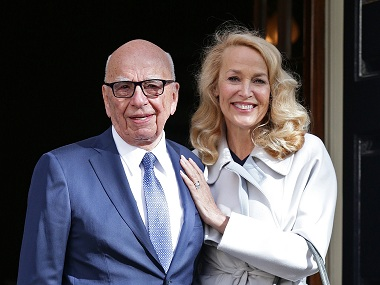 Rupert Murdoch and Jerry Hall, after getting married. AP