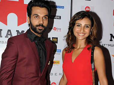 Rajkummar Rao with Patralekha. Image from AFP