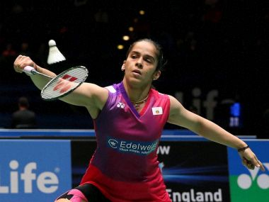 Sania Nehwal during her singles match on day two of the All- England Open Badminton Championships. PTI