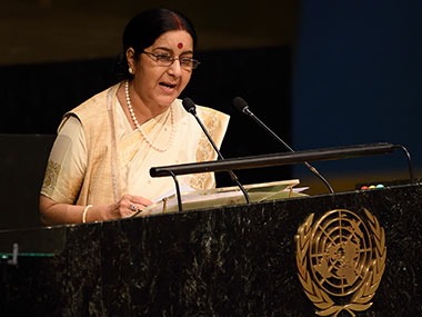 A file photo of Sushma Swaraj. AFP