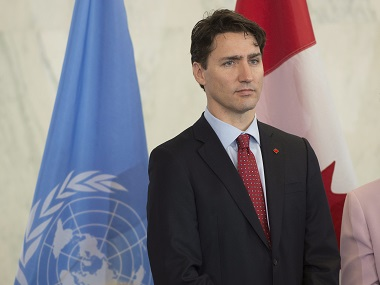 Canadian Prime Minister Justin Trudeau talks during a news conference on Wednesday at the United Nations headquarters. AP