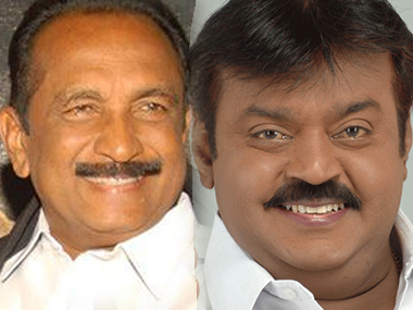Vaiko and Captain Vijayakanth. PTI