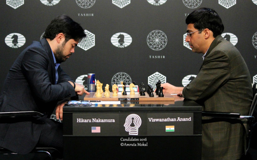 Hikaru Nakamura (left) and Viswanathan Anand during the Round 12 World Candidates Championship match in Moscow's Central Telegraph Building on Friday. Amruta Mokal