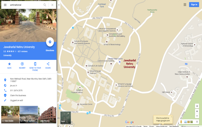 the road to sedition search for 39 anti national 39 or 39 sedition 39 on google maps points to jnu. Black Bedroom Furniture Sets. Home Design Ideas