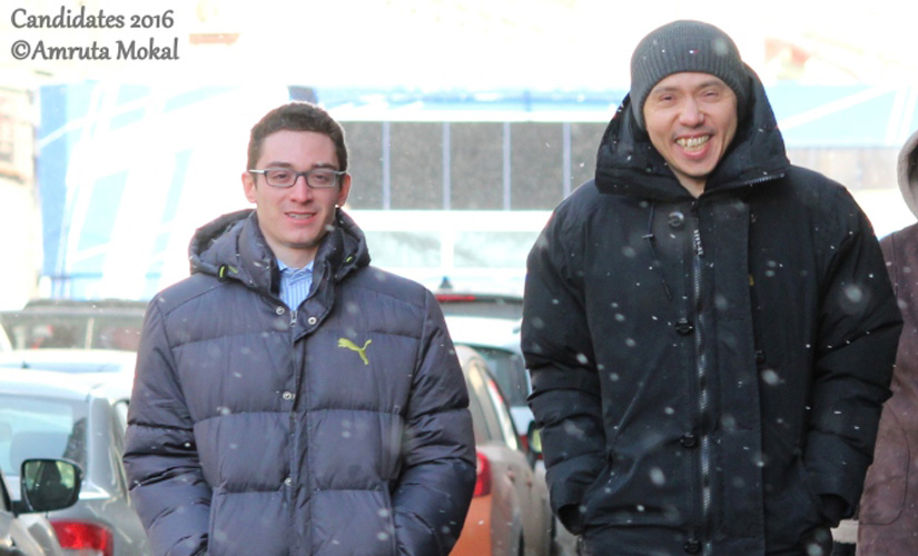 Fabiano Caruana (left) with his second Rustam Kasimdzhanov walking on the streets of Moscow. Amruta Mokal