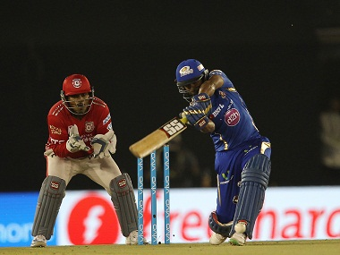 Ambati Rayudu of Mumbai Indians in action against Kings XI Punjab. BCCI