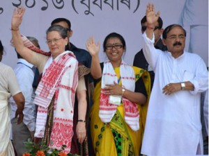 Amguri Congress candidate Angkita Dutta with Congress president Sonia Gandhi and Assam Congress candidate Anjan Dutta at a rally in Amguri. Image courtesy Angkita's Facebook page