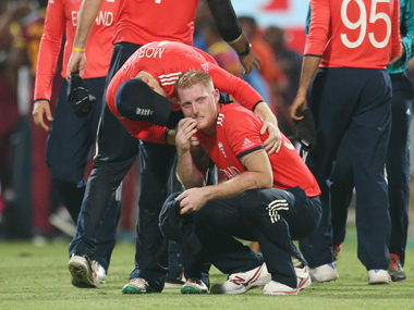Ben Stokes is consoled by his captain Eion Morgan following their loss to the West Indies.  AP